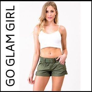 Glam Girl Fashion Shorts - NWT Olive Green Military Cargo Shorts, 11